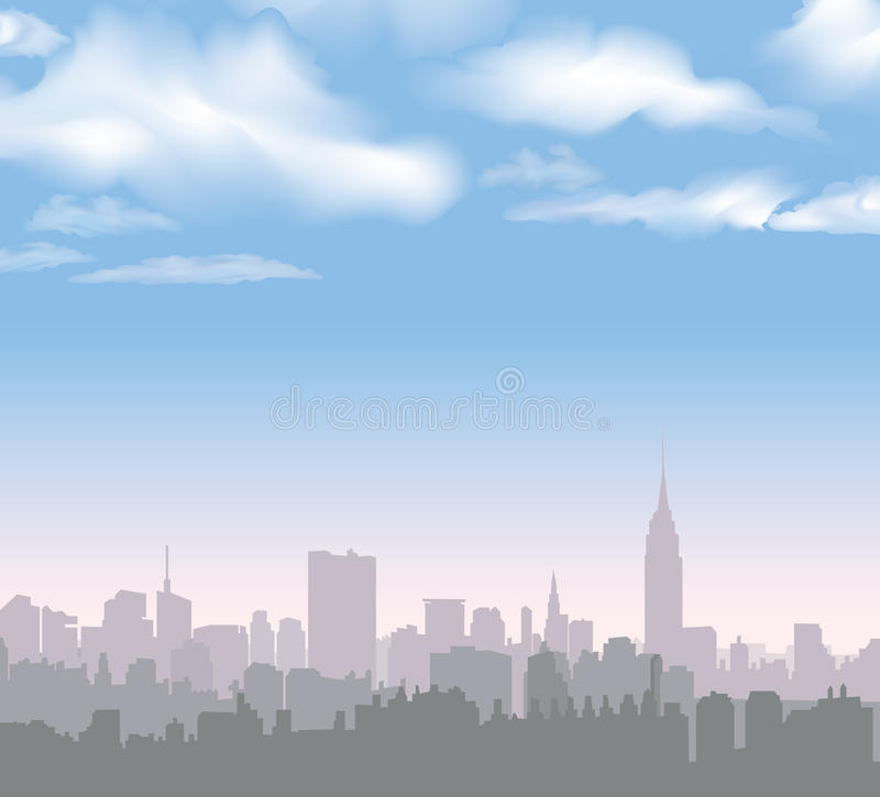 New York Skyline. Vector USA landscape. Cityscape in the early morning. Manhattan Skyline with Empire State Building. Travel USA hand drawn landmark stock illustration