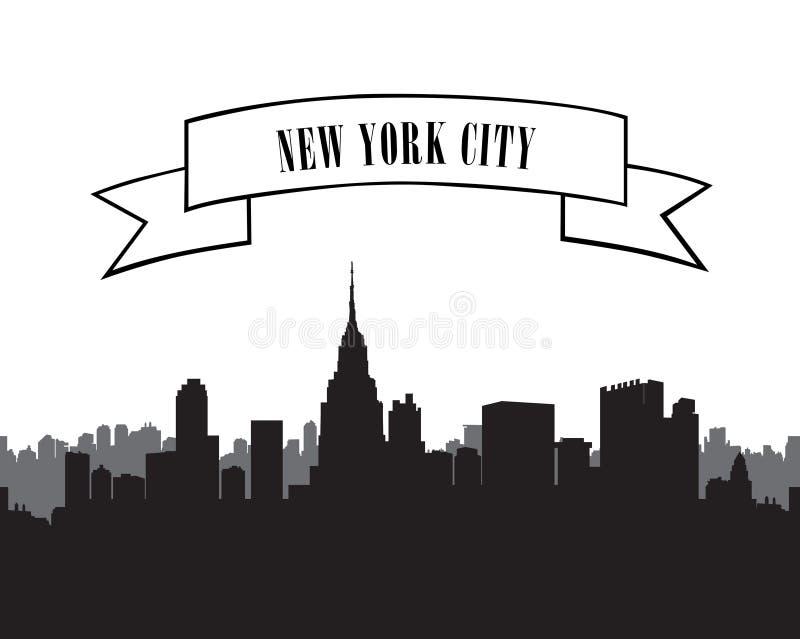 New York Skyline. Vector USA landscape. Cityscape silhouette. New York Skyline. Vector USA landscape. Cityscape with skyscrapers. City silhouette set. Panorama stock illustration