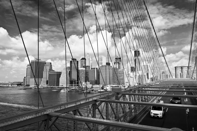 New York skyline, view from Brooklyn bridge, black an white royalty free stock photos