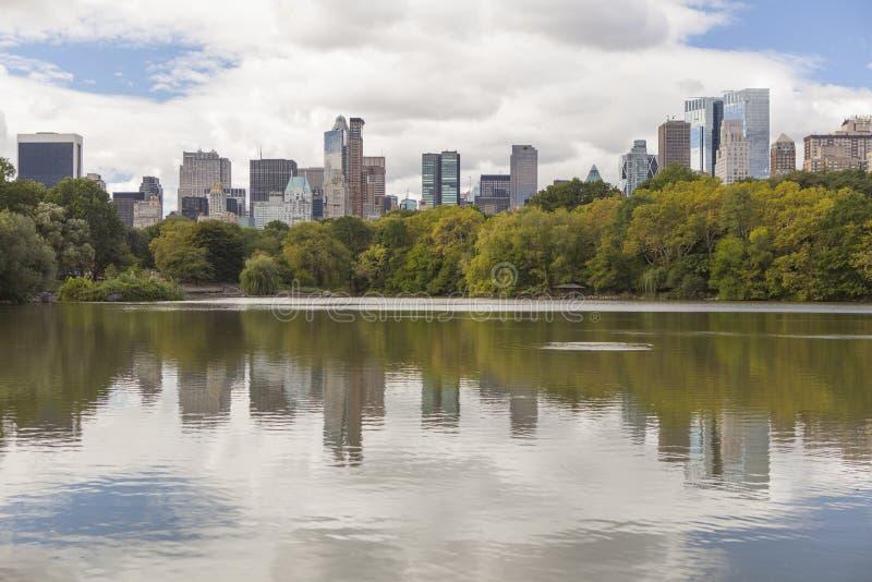 New York Skyline View från Central Park arkivbilder