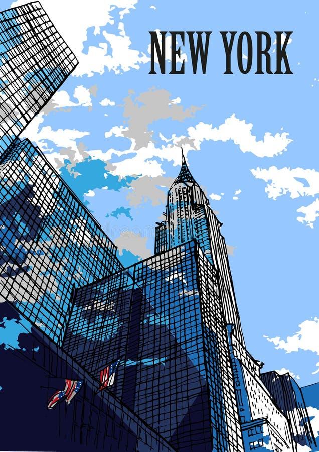 NEW YORK, USA: New York skylines, Chrysler Building. Hand drawn sketch. Postcard. New York skylines, Chrysler Building, New York, USA. Hand drawn sketch of New royalty free illustration