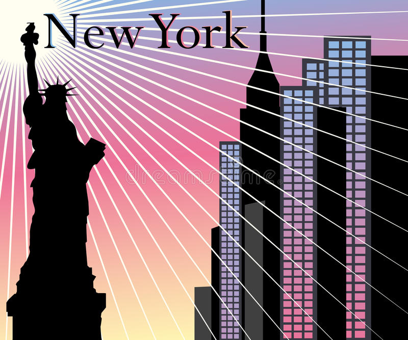 New York Skyscrapers vector background stock illustration