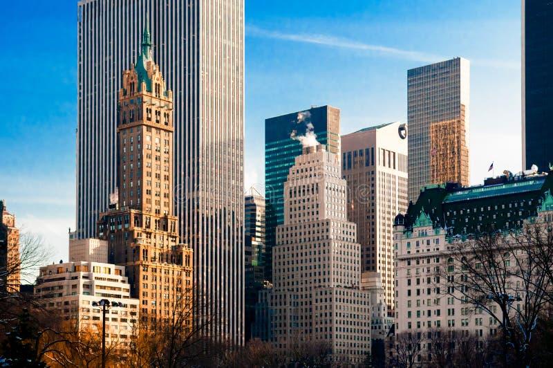 New York skyskrapasikt från Central Park royaltyfria foton