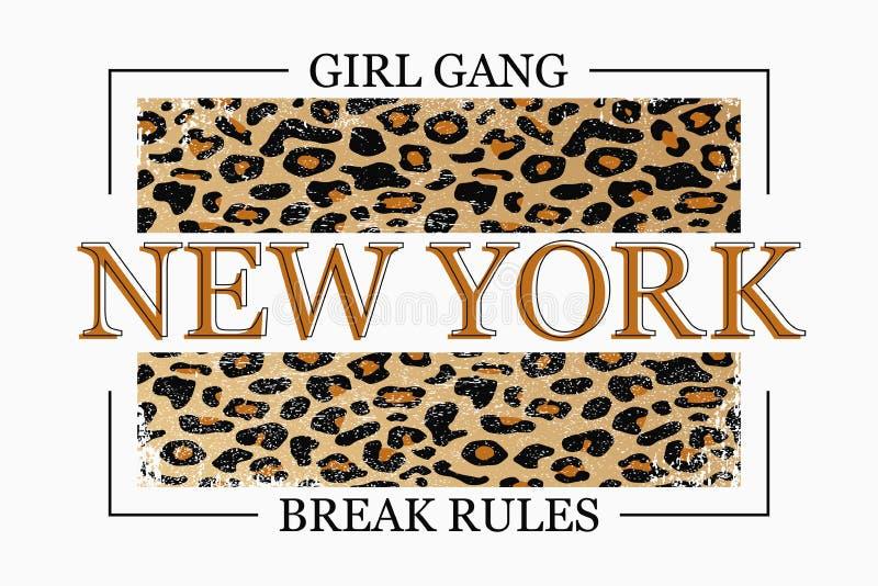 New York slogantypografi på leopardtextur Modet-skjorta design Moderiktigt tryck för flickautslagsplatsskjorta vektor stock illustrationer