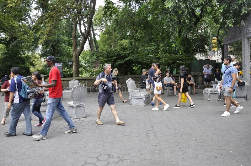 New York, 1st July: People Relaxing in Central Park in Midtown Manhattan from New York City in United States stock image