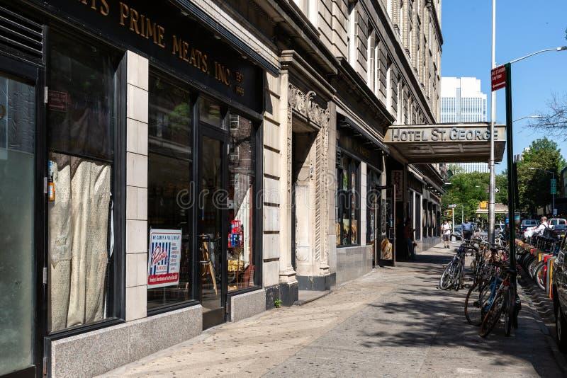 New York stad/USA - JULI 10 2018: Clark Street Subway Station arkivfoton