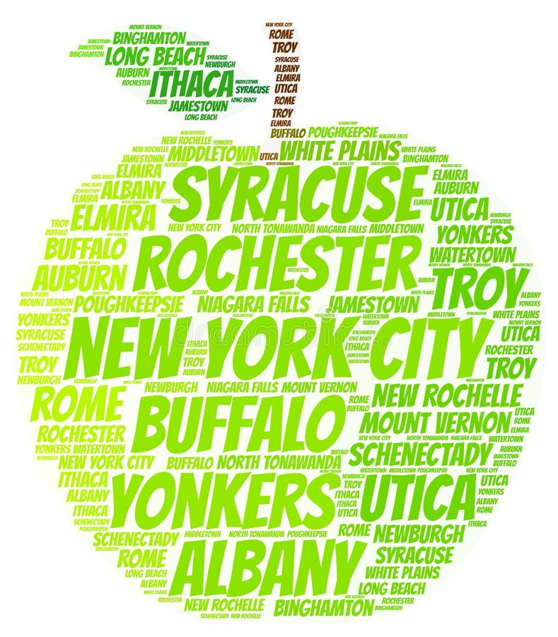 New York State apple. Green apple illustrated with cities of New York State on white vector illustration