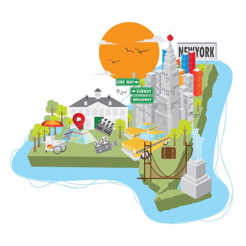 New york state map. Vector illustration decorative design royalty free illustration