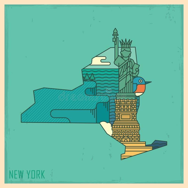 New york state map. Vector illustration decorative design stock illustration