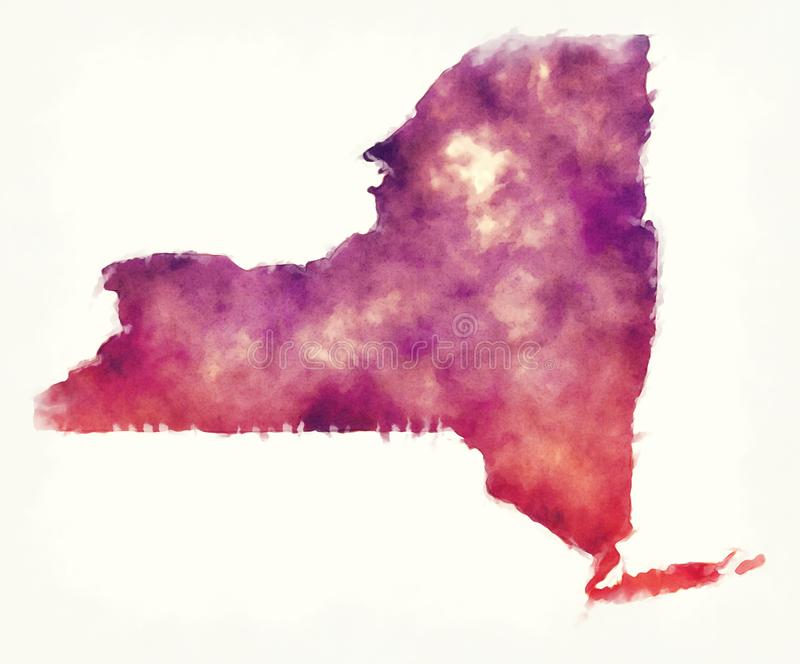 New York state USA watercolor map in front of a white background. Illustration royalty free stock images