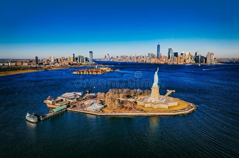New York Statue of Liberty aerial stock photos