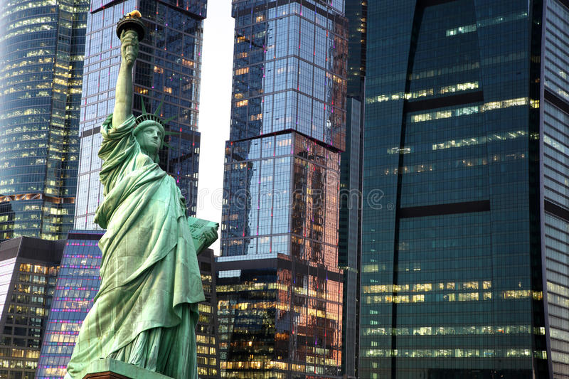 Download New York Statue Of Liberty Against City Skyscrapers Stock Image - Image: 37054631