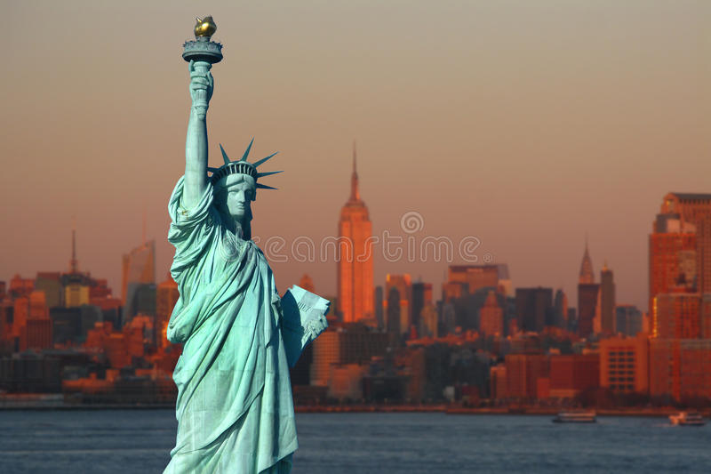 New York: The Statue of Liberty, an American symbol, with Lower stock image