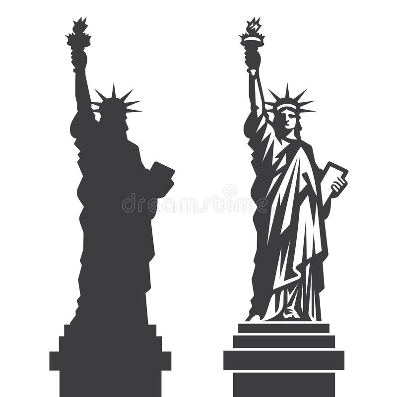 New York staty av den Liberty Vector konturn stock illustrationer