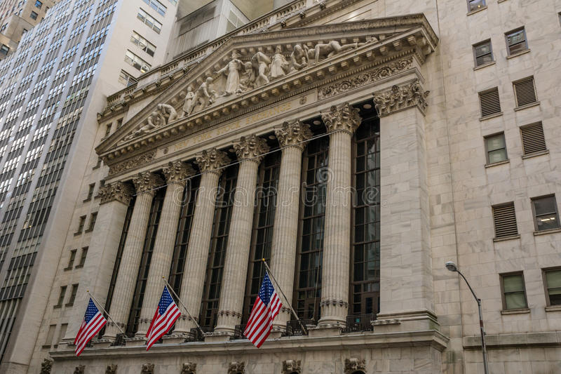 New York stock exchange. Facade of the New York stock exchange royalty free stock images