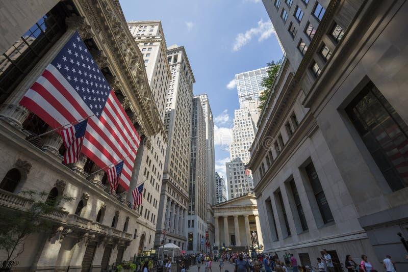 New York Stock Exchange famoso su Wall Street immagine stock libera da diritti