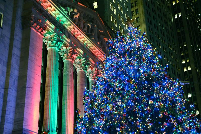 New York Stock Exchange julgran royaltyfri fotografi