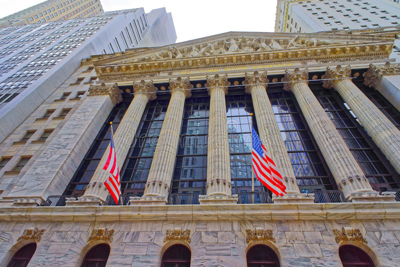 New York Stock Exchange na Wall Street w lower manhattan obraz stock