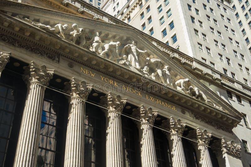 New York Stock Exchange NYSE kamień buduje Manhattan znaka zdjęcia royalty free