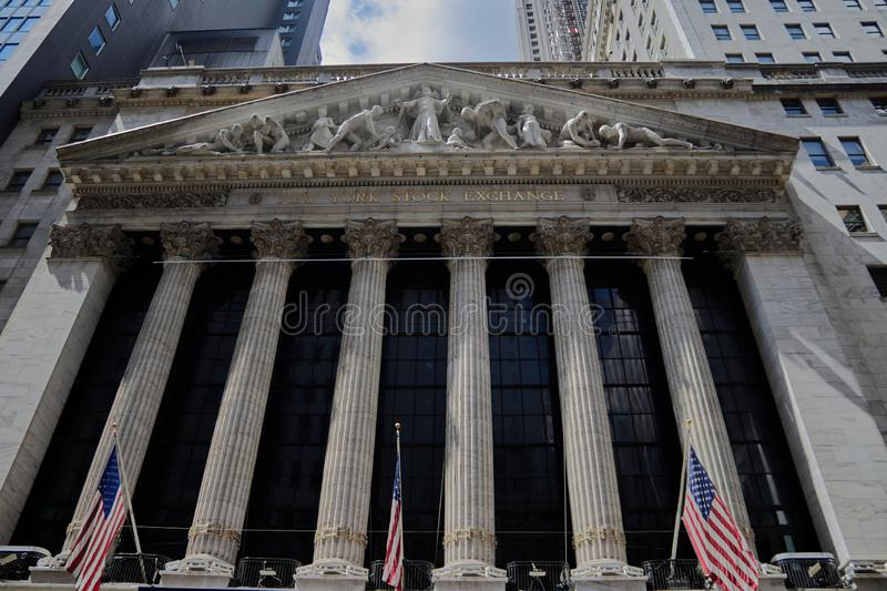 New york stock exchange. New York/New York/United States-08/22/2019: New york stock exchange royalty free stock image