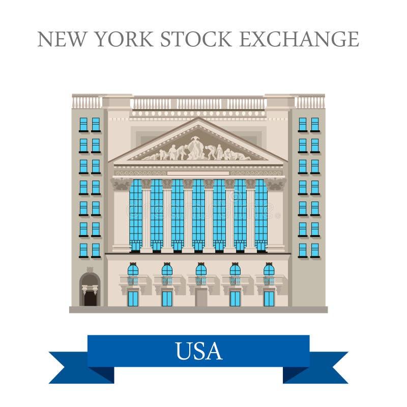 New York Stock Exchange w Stany Zjednoczone samochodowy mieszkanie royalty ilustracja