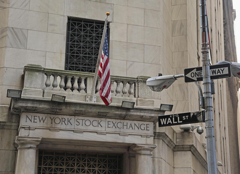New York Stock Exchange, Wall St. NYC. The New York Stock Exchange at Wall St, New York City Financial District stock image
