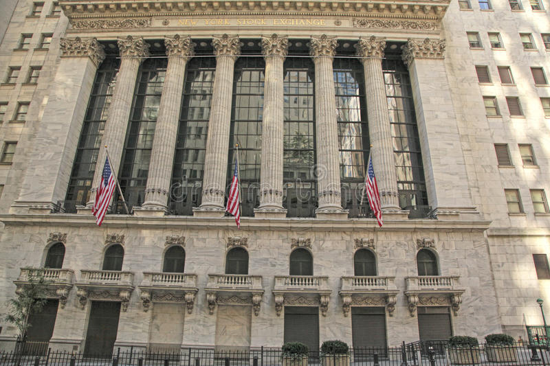New York Stock Exchange, Wall St., NYC. The New York Stock Exchange located in New York City's Financial District at Wall and Broad Streets stock photos