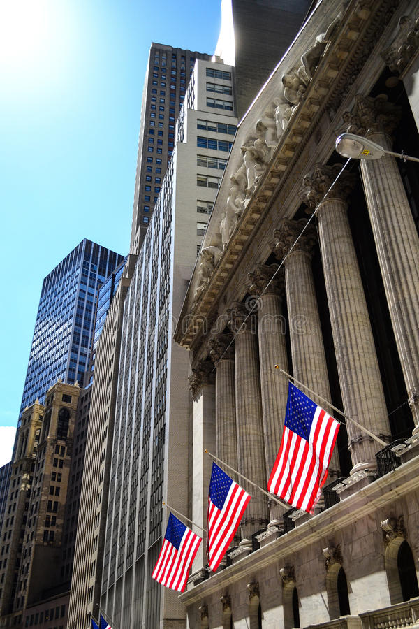 New York Stock Exchange Wall Street stock foto's
