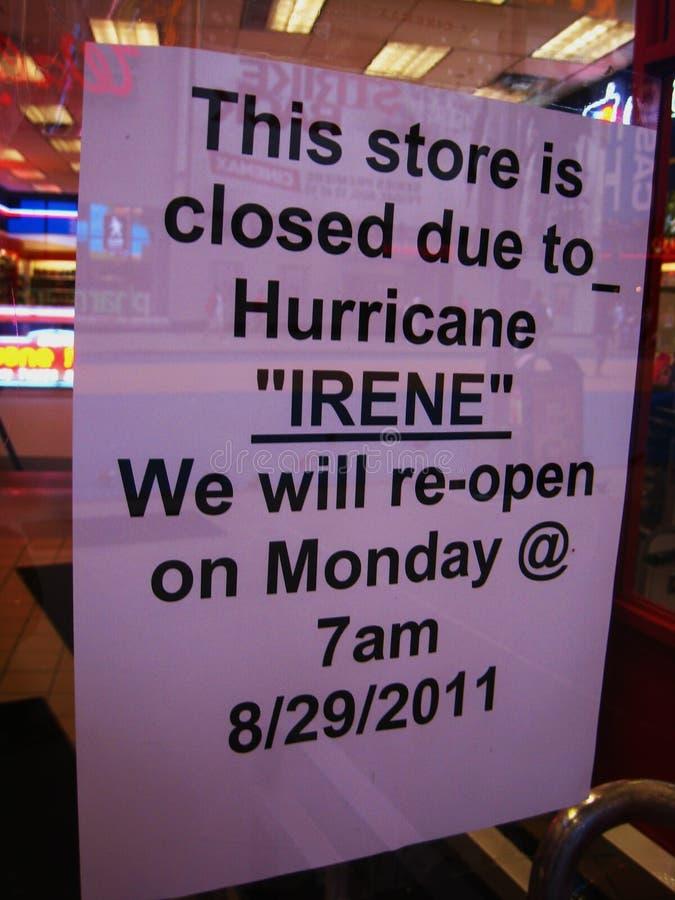 New York store shut due to hurricane Irene. Sign in a store window in New York City announcing closure because of Hurricane Irene 08/27/11 stock image