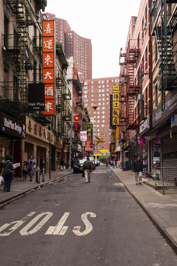 New York - A street in Chinatown royalty free stock image