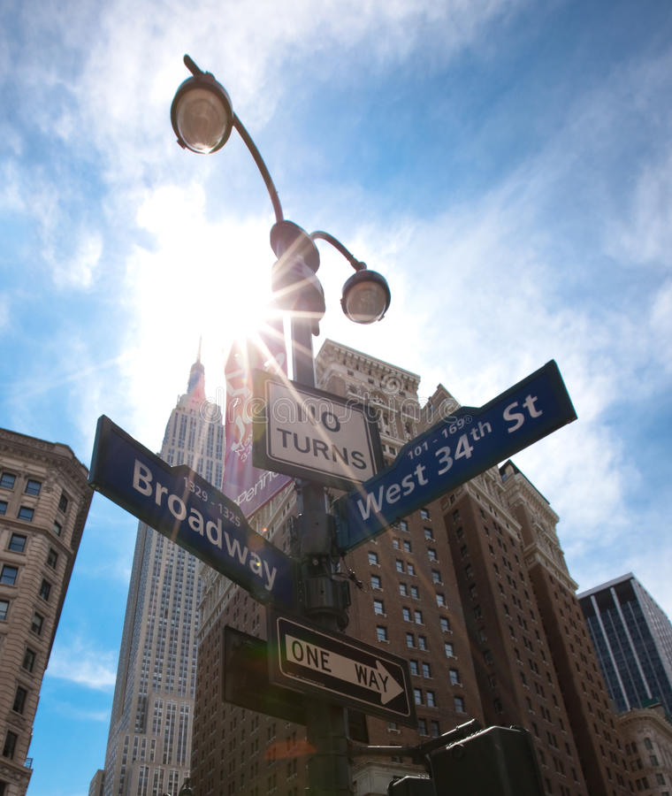 New York, street signs. New York city , street signs , Broadway stock photography