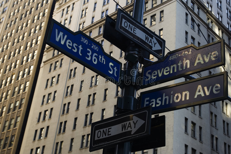 New York street signs. Corner of Fashion and West 36th street in Manhattan, New York city stock photos