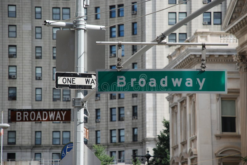 New york street signs. Broadway street signs in new york city royalty free stock photo
