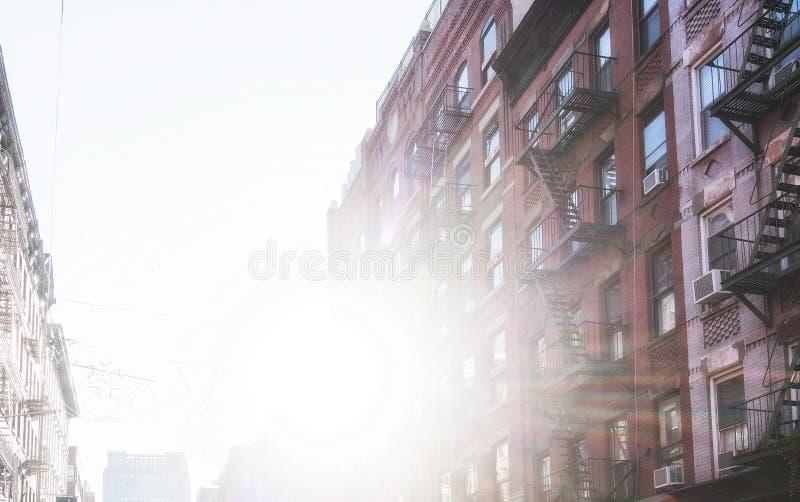 New york street with sun. stock image