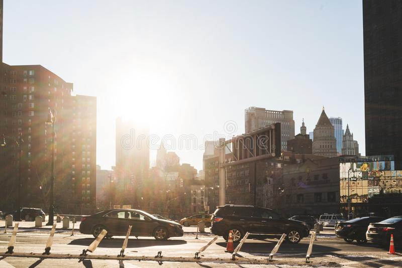 New york street with sun. royalty free stock images