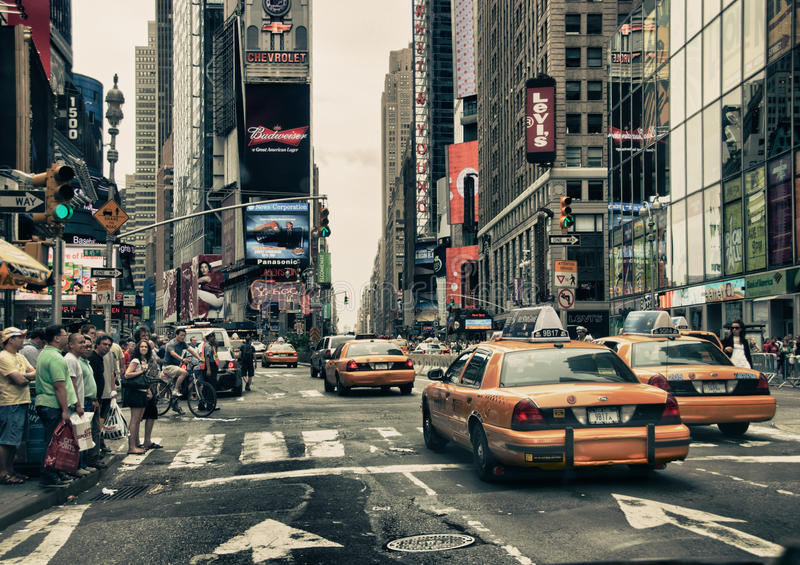 Download New York Streets and Taxis editorial stock photo. Image of angle - 19297613