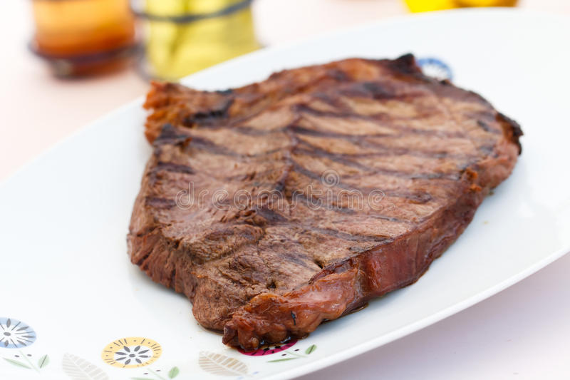 New York Strip Steak on the plate stock photography