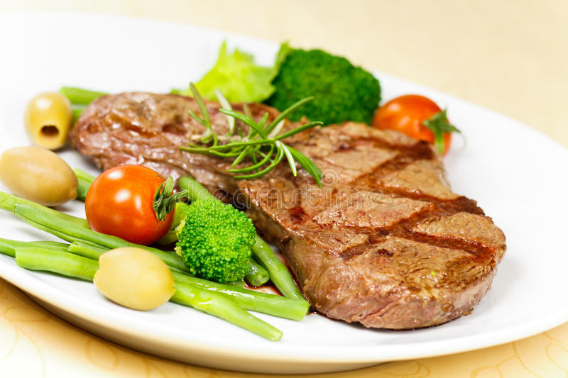 New York Strip Steak with Vegetables stock image