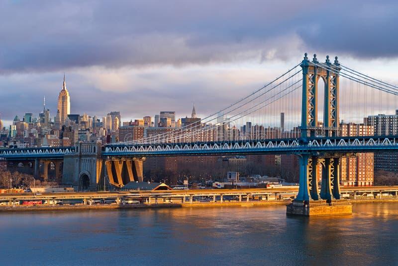 New York Sunrise On Manhatten Bridge Royalty Free Stock Photo
