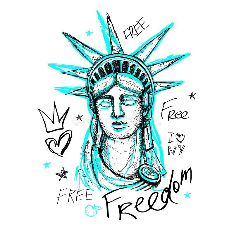 New York t-skjortadesign, affisch, tryck, staty av frihetbokstäver, översikt, utslagsplatsskjortadiagram, moderiktig torr borstes stock illustrationer