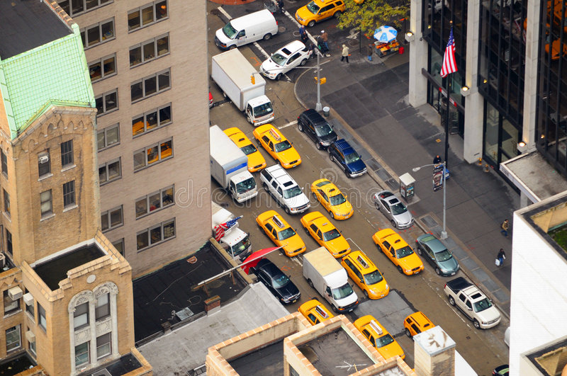 New York Taxi cabs aerial view stock photography