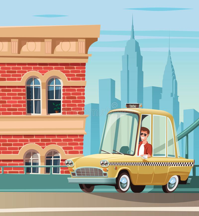 New York taxi on street and city landscape in backgraund vector illustration