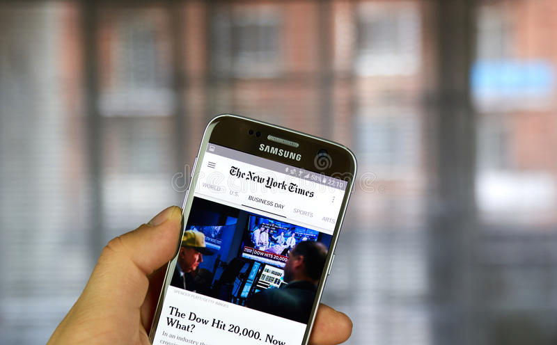 New York Times on Android phone royalty free stock photography