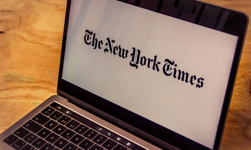 The New York Times logo on laptop screen royalty free stock photos