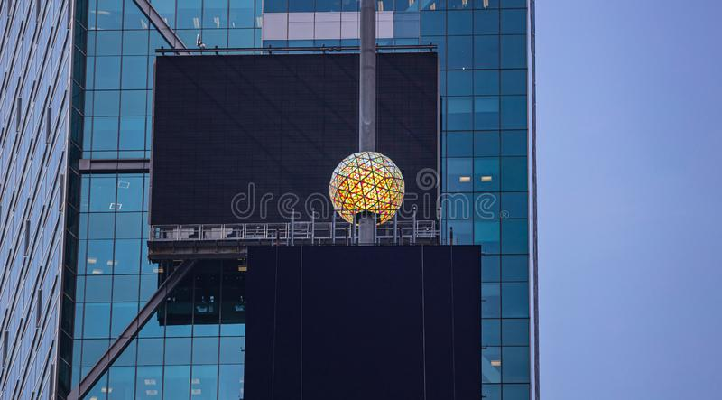 New York, Times Square.  Crystal ball and black blank billboards stock photo