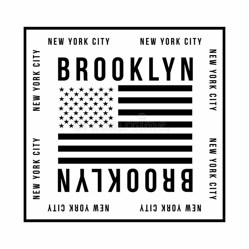 New York, tipografia di Brooklyn per la stampa della maglietta Bandiera americana nel colore nero Grafici della maglietta illustrazione vettoriale