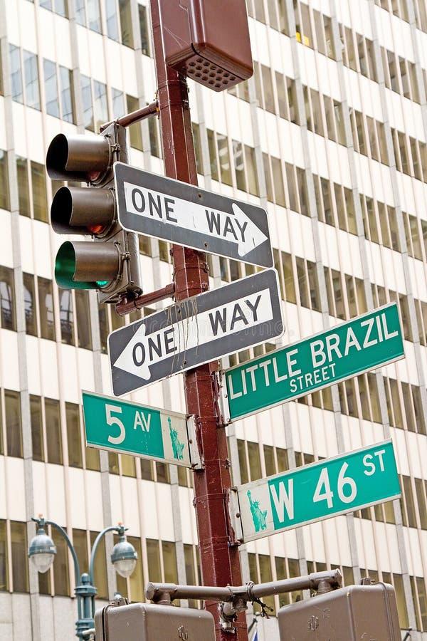 New York trafiktecken royaltyfri bild