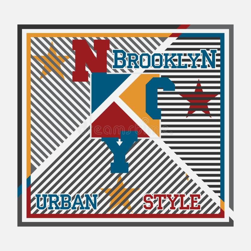 New York typografi, t-skjorta printingman NYC, original- design c vektor illustrationer
