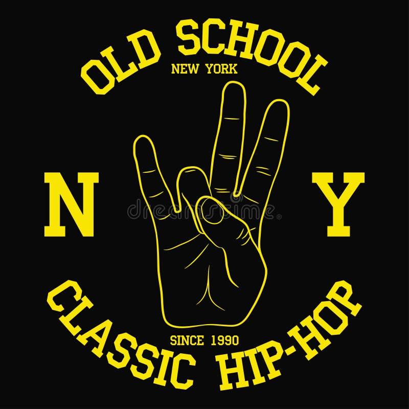 New York, typographie de hip-hop de NY pour la conception vêtx, T-shirt Copie avec le geste de main de Côte Est Graphique pour l' illustration libre de droits