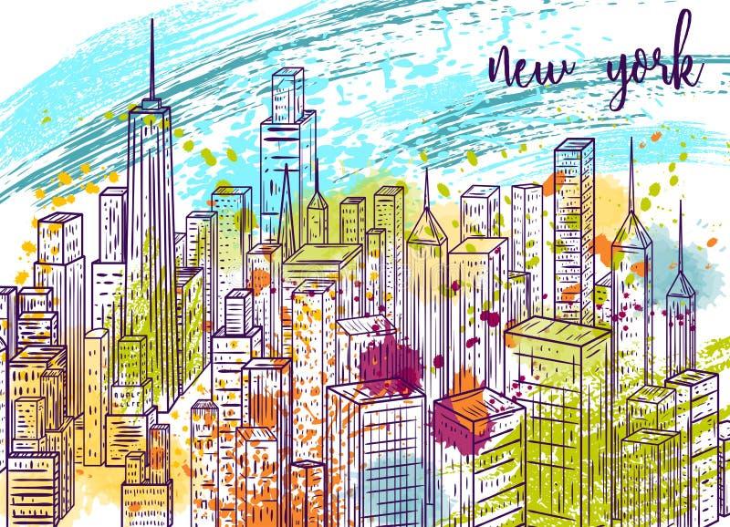 New York Uitstekende kleurrijke hand getrokken stadslandschap en plonsen in waterverfstijl vector illustratie